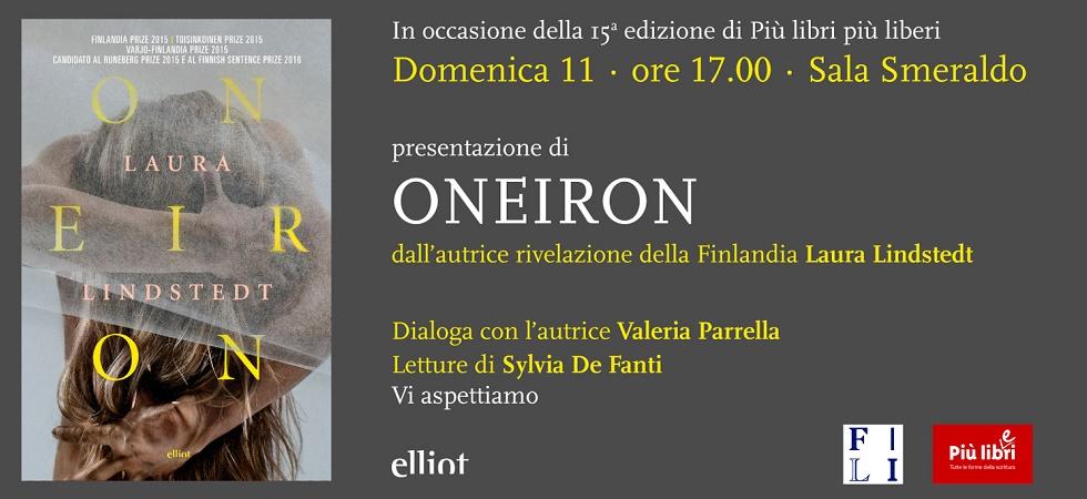 Roma, 11 dicembre: Laura Lindstedt presenta il suo romanzo Oneiron